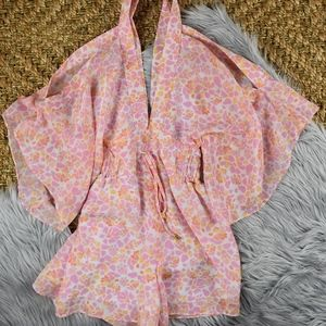 (Plum Pretty Sugar) Pink Cold Shoulder Playsuit